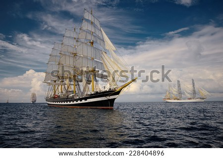 Sailing. A collection of ships and yachts - stock photo