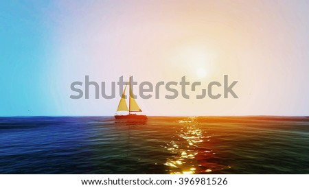 Sailing and sunset on the sea 3D illustration - stock photo