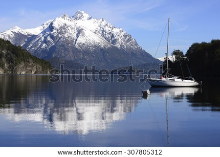 Sailing between the mountains of Patagonia, Argentina - stock photo