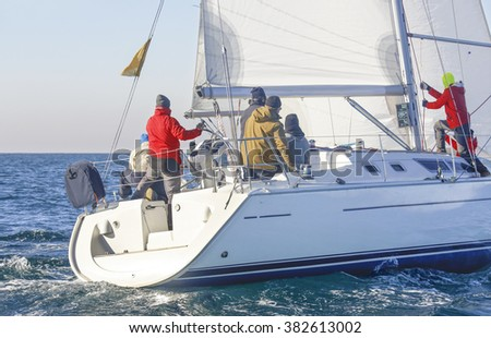 sailing boat during a regatta at the mediterranean sea in italy - stock photo