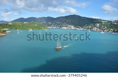 Sailing boat near Saint Thomas US Virgin Islands - stock photo
