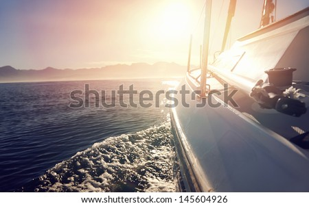 Sailing Boat Sunrise Sailing Boat on on Ocean Water