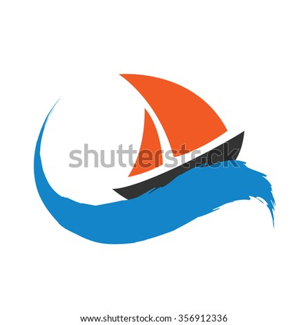 Sailing boat on the water, icon
