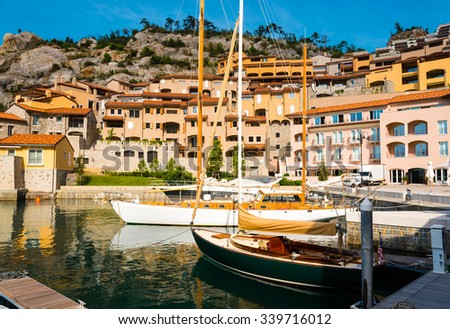 sailing boats in a marina - stock photo
