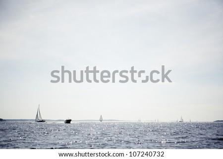 Sailing boats on sea - stock photo