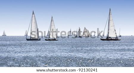 Sailing boats on the lake - stock photo