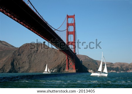 Sailing By The Golden Gate - stock photo
