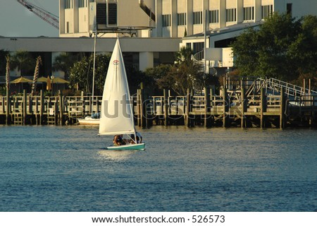 Sailing Down the Cape Fear - stock photo