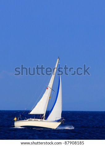 Sailing in Greece around Lefkas island - stock photo