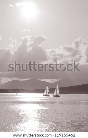 Sailing in Oban; Scotland; UK in Black and White Sepia Tone