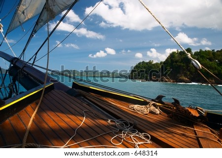 Sailing in St. Lucia - stock photo