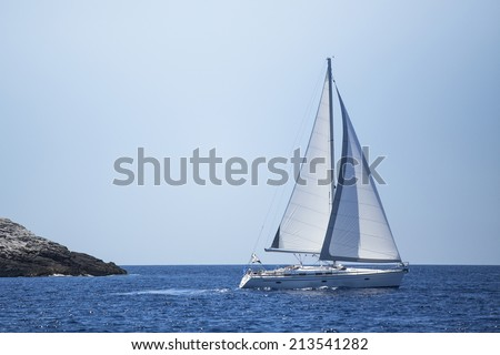 Sailing in the sea. Yachting. Luxury yachts.  - stock photo