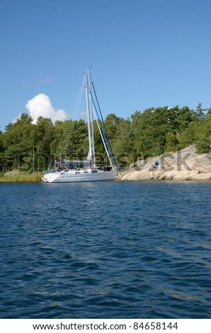 Sailing in the Östergötland Archipelago (Sweden) - stock photo