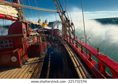 Sailing in the storm - stock photo