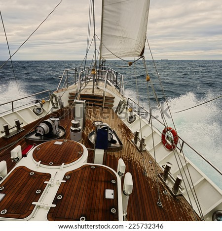 Sailing in the storm. Collection of yachting and sailing - stock photo