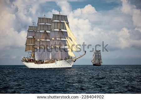 Sailing regatta. A collection of ships and yachts - stock photo