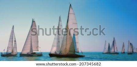 Sailing regatta on the sea - stock photo