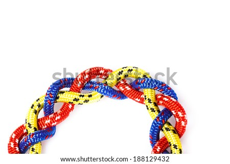 Sailing rope tied in a knot at sea background