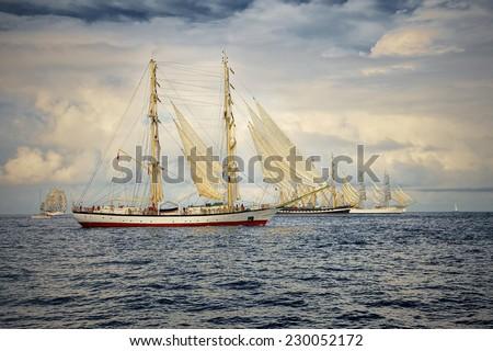 Sailing. Series of ships and yachts - stock photo