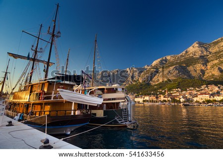 Sailing ship anchored in port of Makarska, Croatia