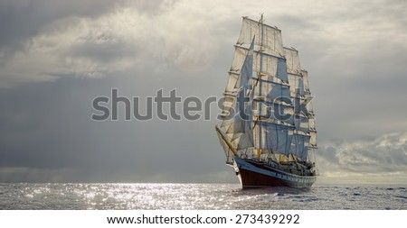 Sailing ship and stormy sky. Collection best yachts and ships