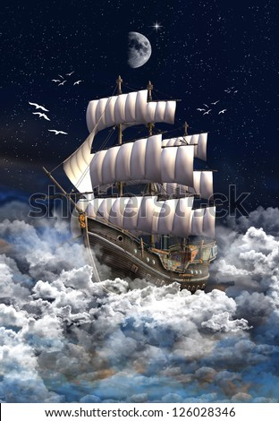 Sailing Ship Between Clouds - 3D rendered fantasy scene - stock photo