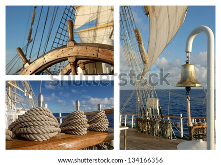 Sailing ship.Collage detailing ship - stock photo