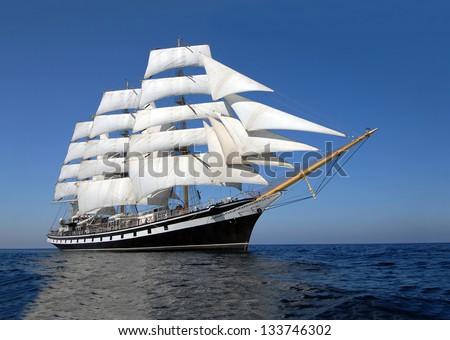 Sailing ship. Cruise sailing. - stock photo