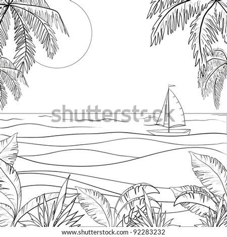 Sailing ship floating in the sea, the view from a tropical island, contours - stock photo