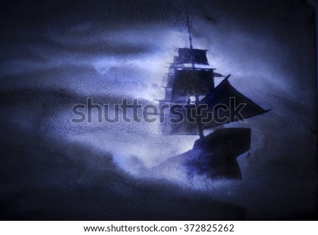 sailing ship in a strong storm - stock photo