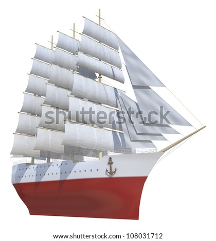 sailing ship on a white background - stock photo