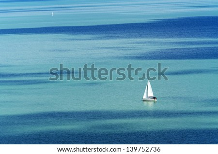 Sailing ship on Lake Balaton, Hungary - stock photo