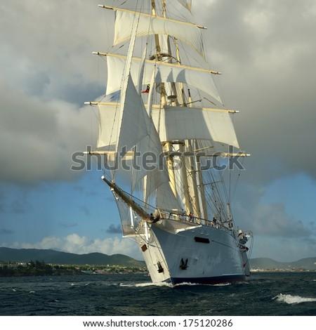 Sailing ship. Series of ships and yachts - stock photo