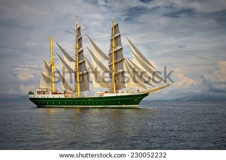 Sailing ship. Series yachting and sailing - stock photo