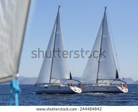 Sailing ship yachts during regatta in the Mediterranean Sea. Sailing regatta. Luxury yachts. - stock photo