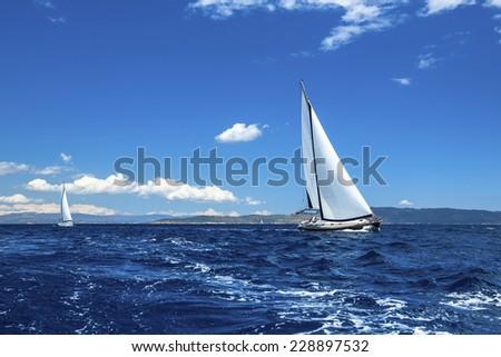 Sailing ship yachts. Sailing regatta. Luxury yachts. - stock photo