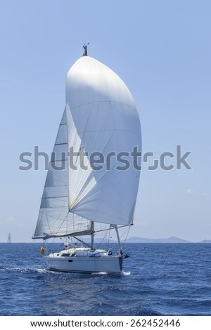 Sailing. Ship yachts with white sails in the open Sea. Luxury Lifestyle. - stock photo