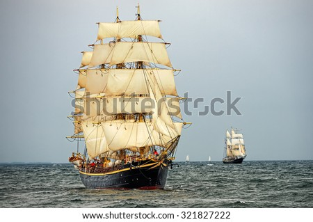 Sailing ships in the regatta. Sail .Yachting. Race