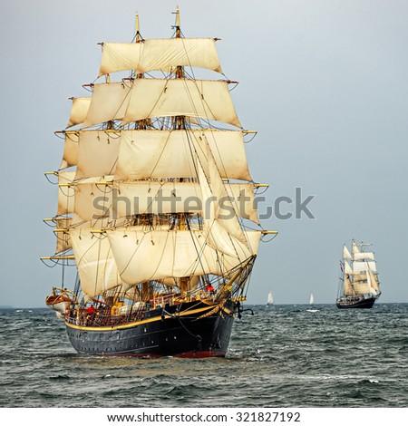 Sailing ships in the regatta. Sail .Yachting.Tall ships - stock photo