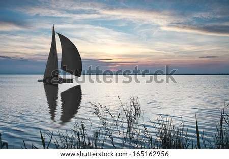 sailing the open sea, - stock photo