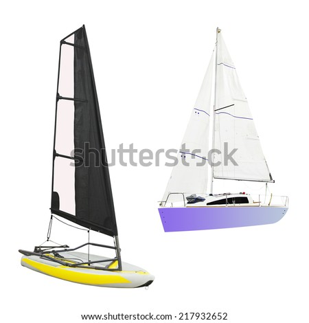 sailing under the white background