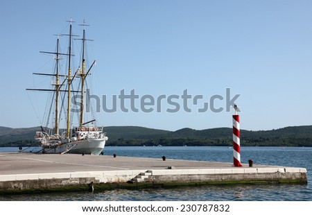 Sailing vessel at the dock - stock photo