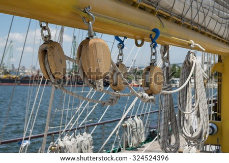 sailing vessel mast and rigging - stock photo
