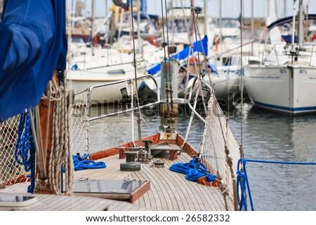 sailing yacht at harbor - stock photo