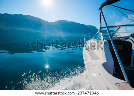 Sailing yacht boat on sea water. Outdoor lifestyle. - stock photo