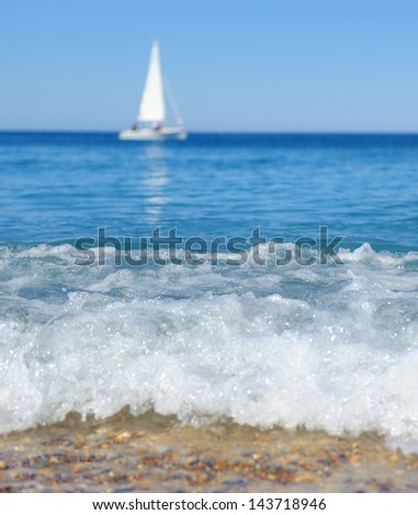 Sailing yacht in the sea - stock photo
