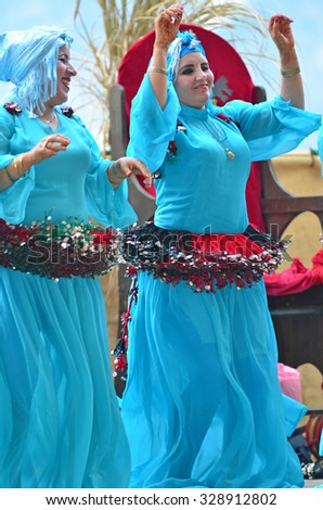 SAILLON, SWITZERLAND - SEPTEMBER 11: Moroccan dancers from the Tornals group in the Saillon Medieval Festival: March 11, 2015 in Saillon, Switzerland - stock photo