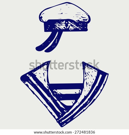 Sailor clothing. Doodle style. Raster version - stock photo