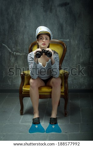 sailor girl waiting and observe - stock photo