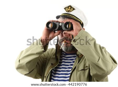 sailor with binoculars over white - stock photo
